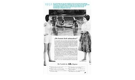 Imaginea ilustrează o reclamă la tampoanele O.B. din anul 1952.