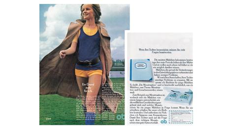 Imagine care conține pagini din reviste care promovează apariția tamponului O.B. mini.
