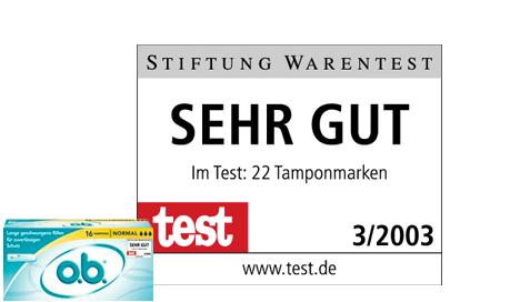 Imagine care conține poza produsului și calificativul dat de Stiftung Warentest tamponului o.b.® Normal cu canale spiralate.