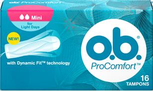 Imagine cu un pachet de tampoane O.B.® ProComfort™ Mini. Produsul are două picături, ceea ce indică faptul că este recomandat pentru zilele cu flux redus sau celor care au început să folosească tampoane interne de puţin timp.