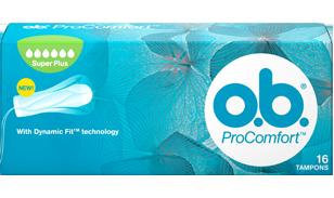 Imagine cu un pachet de tampoane O.B.® ProComfort™ SuperPlus. Produsul are şase picături, care indică faptul că este adecvat pentru zilele cu flux foarte abundent.