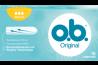 Imagine cu un pachet de tampoane O.B.® Original Normal. Produsul are trei picături, care indică faptul că este adecvat pentru zilele cu flux redus spre mediu.