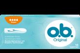 Imagine cu un pachet de tampoane O.B.® Original Super. Produsul are patru picături, care indică faptul că este adecvat pentru zilele cu flux mediu spre abundent.